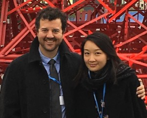 Architecture 2030's representatives at COP21: Panama Bartholomy, EU Lead, and Yaki Wo,  Asia Lead